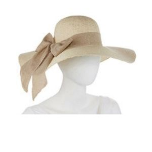 Scala Linen Floppy Hat with a Bow NEW